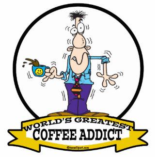 WORLDS GREATEST COFFEE ADDICT CARTOON ACRYLIC CUT OUT