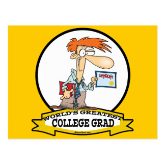 WORLDS GREATEST COLLEGE GRAD MEN CARTOON POSTCARD