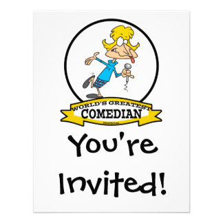 WORLDS GREATEST COMEDIAN WOMAN CARTOON PERSONALIZED ANNOUNCEMENT