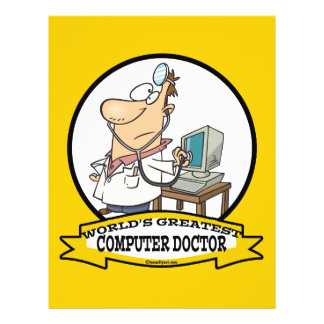 WORLDS GREATEST COMPUTER DOCTOR MEN CARTOON 21.5 CM X 28 CM FLYER