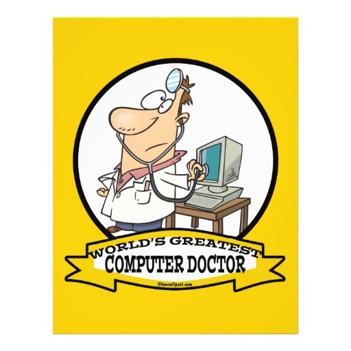 WORLDS GREATEST COMPUTER DOCTOR MEN CARTOON FULL COLOR FLYER