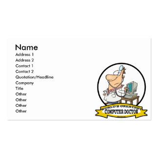 WORLDS GREATEST COMPUTER DOCTOR MEN CARTOON PACK OF STANDARD BUSINESS CARDS