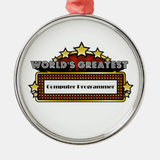 World's Greatest Computer Programmer Silver-Colored Round Decoration