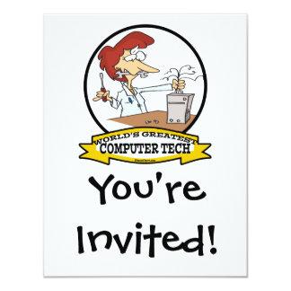 "WORLDS GREATEST COMPUTER TECH WOMEN CARTOON 4.25"" X 5.5"" INVITATION CARD"