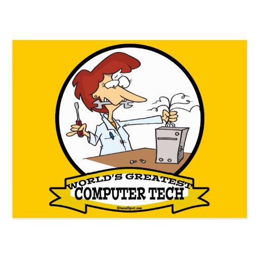 WORLDS GREATEST COMPUTER TECH WOMEN CARTOON POSTCARD