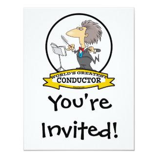 WORLDS GREATEST CONDUCTOR MEN CARTOON 11 CM X 14 CM INVITATION CARD