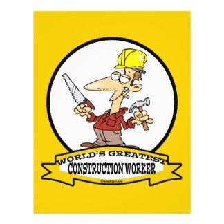 WORLDS GREATEST CONSTRUCTION WORKER CARTOON 21.5 CM X 28 CM FLYER