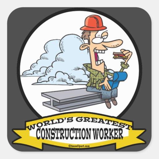 WORLDS GREATEST CONSTRUCTION WORKER II CARTOON STICKERS
