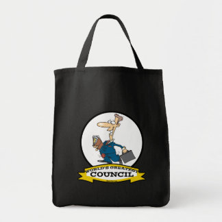 WORLDS GREATEST COUNCIL MEN CARTOON TOTE BAGS