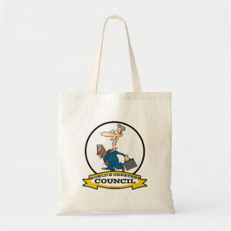 WORLDS GREATEST COUNCIL MEN CARTOON BUDGET TOTE BAG