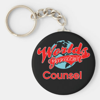 World's Greatest Counsel Basic Round Button Key Ring