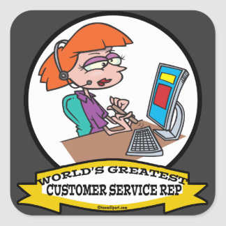 WORLDS GREATEST CUSTOMER SERVICE REP CARTOON SQUARE STICKERS