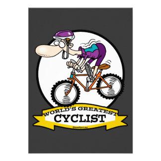WORLDS GREATEST CYCLIST MEN CARTOON CUSTOM INVITE