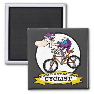 WORLDS GREATEST CYCLIST MEN CARTOON FRIDGE MAGNET