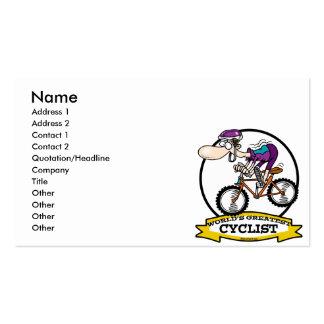 WORLDS GREATEST CYCLIST MEN CARTOON PACK OF STANDARD BUSINESS CARDS