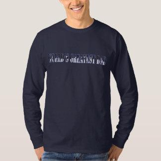 Worlds Greatest Dad Cheering Text LS Navy T-shirt
