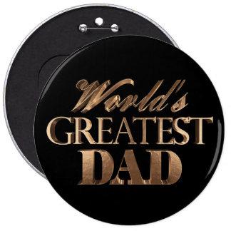 World's Greatest Dad Elegant Black Gold Typography 6 Cm Round Badge