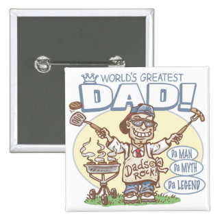 World's Greatest Dad Father's Day BBQ Gear 15 Cm Square Badge