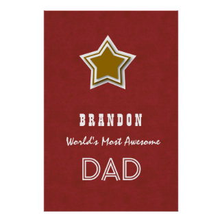 World's Greatest Dad Gold Star Brick Red Gift N03Z Poster