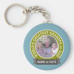 World's Greatest Dad Grandpa Custom Photo Template Basic Round Button Key Ring