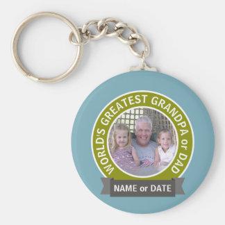 World's Greatest Dad Grandpa Custom Photo Template Key Ring