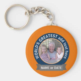 World's Greatest Dad Grandpa Photo orange blue Basic Round Button Key Ring