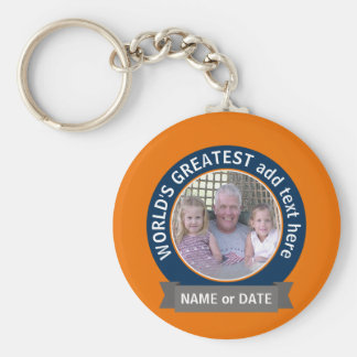 World's Greatest Dad Grandpa Photo orange blue Key Ring