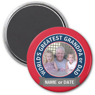 World's Greatest Dad Grandpa Photo red white blue 7.5 Cm Round Magnet