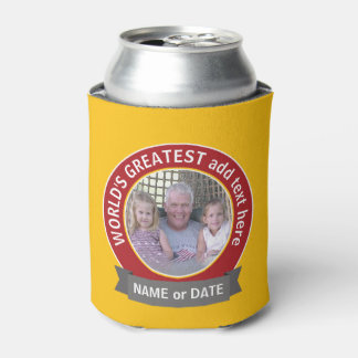 World's Greatest Dad Grandpa Photo red yellow Can Cooler