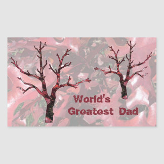 World's Greatest Dad Red Oak Leaves, Tree Rectangular Stickers