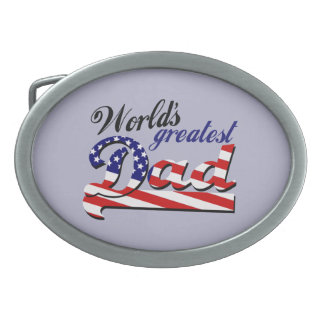 World's greatest dad with American flag Belt Buckle