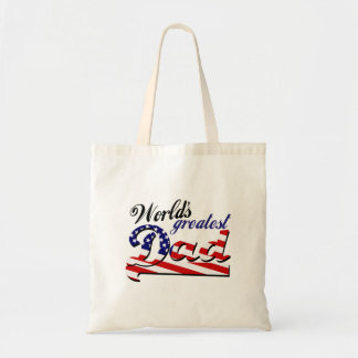 World's greatest dad with American flag Budget Tote Bag