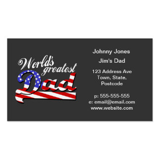 Worlds greatest dad with American flag - Dark Pack Of Standard Business Cards
