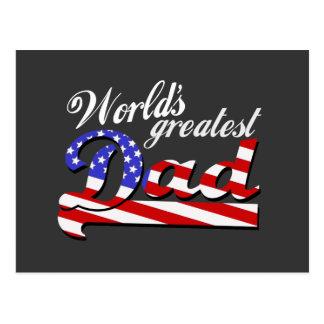 Worlds greatest dad with American flag - Dark Postcard