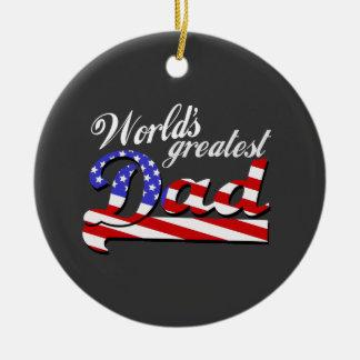 Worlds greatest dad with American flag - Dark Round Ceramic Decoration