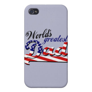World's greatest dad with American flag iPhone 4 Cover