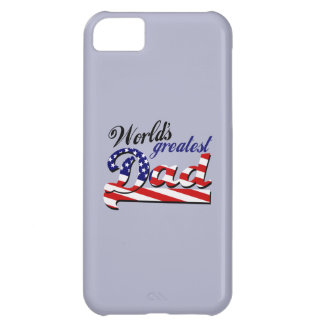 World's greatest dad with American flag iPhone 5C Case