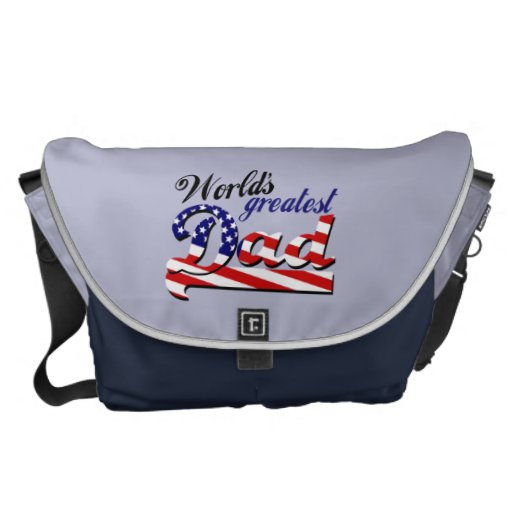 World's greatest dad with American flag Courier Bag