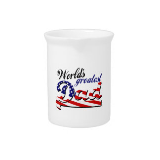 World's greatest dad with American flag Pitcher