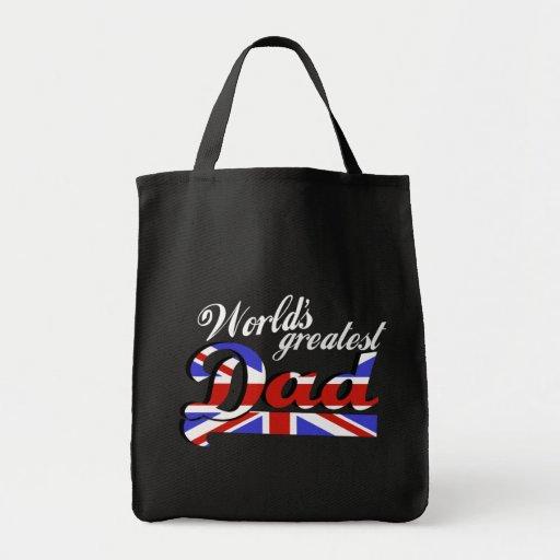 World's greatest dad with British flag - dark Bag