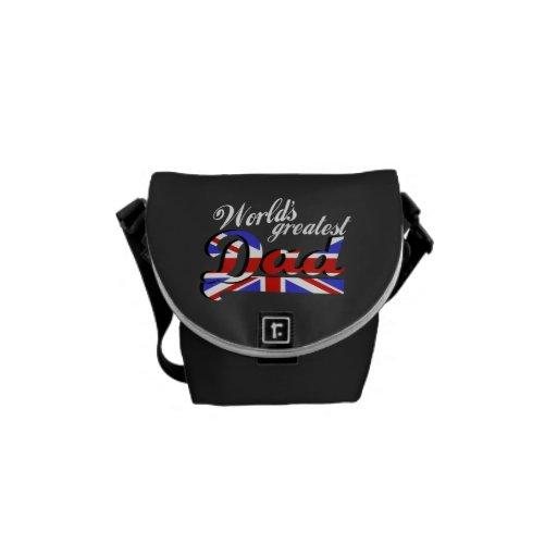 World's greatest dad with British flag - dark Messenger Bag