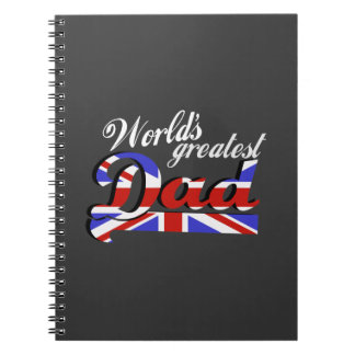 World's greatest dad with British flag - dark Notebook
