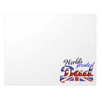 World's Greatest Dad with English flag Notepad