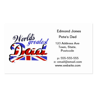 World's Greatest Dad with English flag Pack Of Standard Business Cards