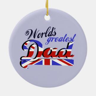 World's Greatest Dad with English flag Round Ceramic Decoration