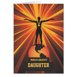 Worlds Greatest Daughter Trophy Award Greeting Card