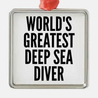 Worlds Greatest Deep Sea Diver Silver-Colored Square Decoration