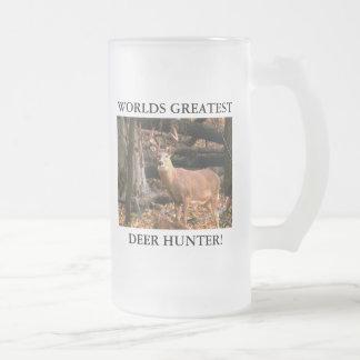 WORLDS GREATEST DEER HUNTER! 16oz STEIN Frosted Glass Mug