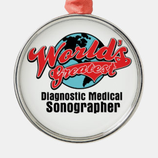 Worlds Greatest Diagnostic Medical Sonographer Silver-Colored Round Decoration