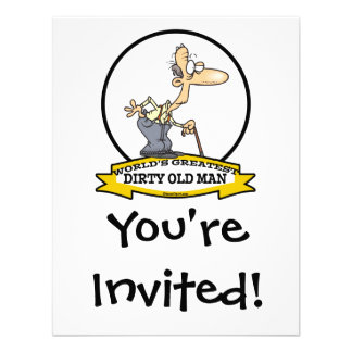 WORLDS GREATEST DIRTY OLD MAN CARTOON PERSONALIZED INVITE